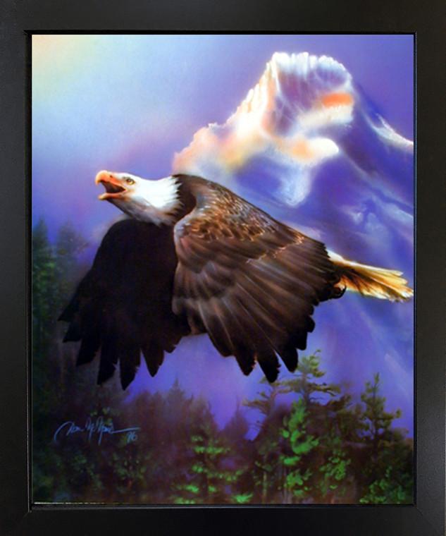 Bald Eagle Flying Dan McManis Wild Animal Framed Wall Decor Art Print Picture (18x22)