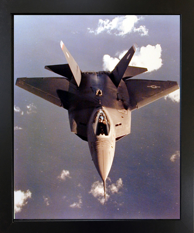 Aviation Aircraft Military Poster - YF-22 Fighter Jet Black Framed Wall Decor Art Print Picture(18x22)