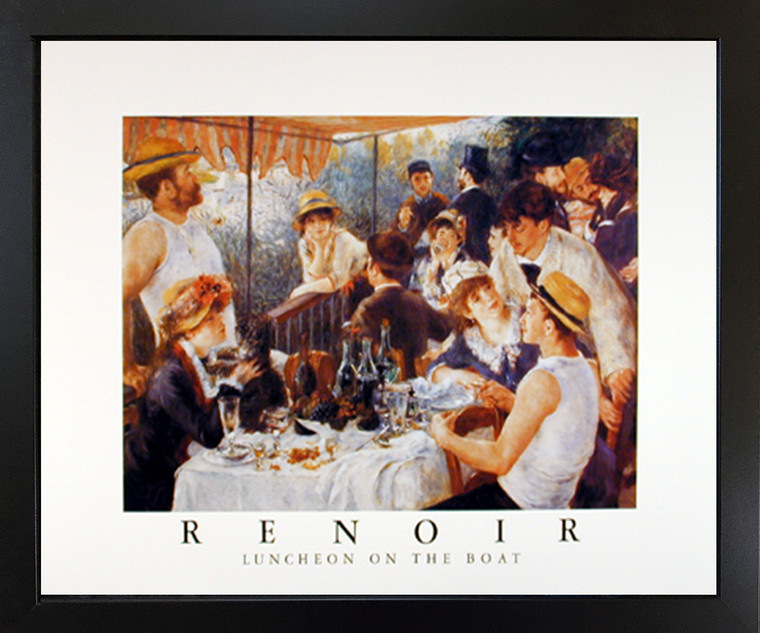 Framed Wall Decoration Renoir Luncheon on The Boat Party Impressionist Black Art Print Picture (18x22)