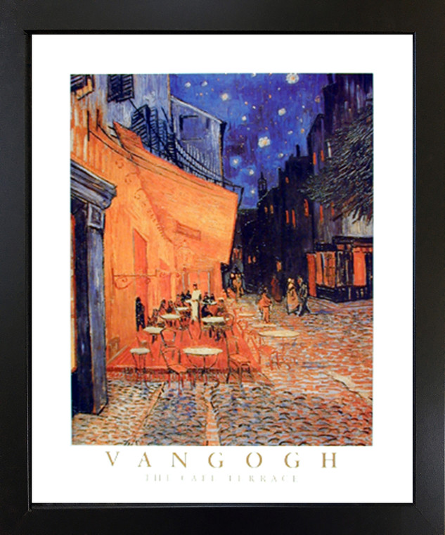 Framed Wall Decoration Vincent Van Gogh The Cafe Terrace at Night Black Framed Art Print Picture (18x22)