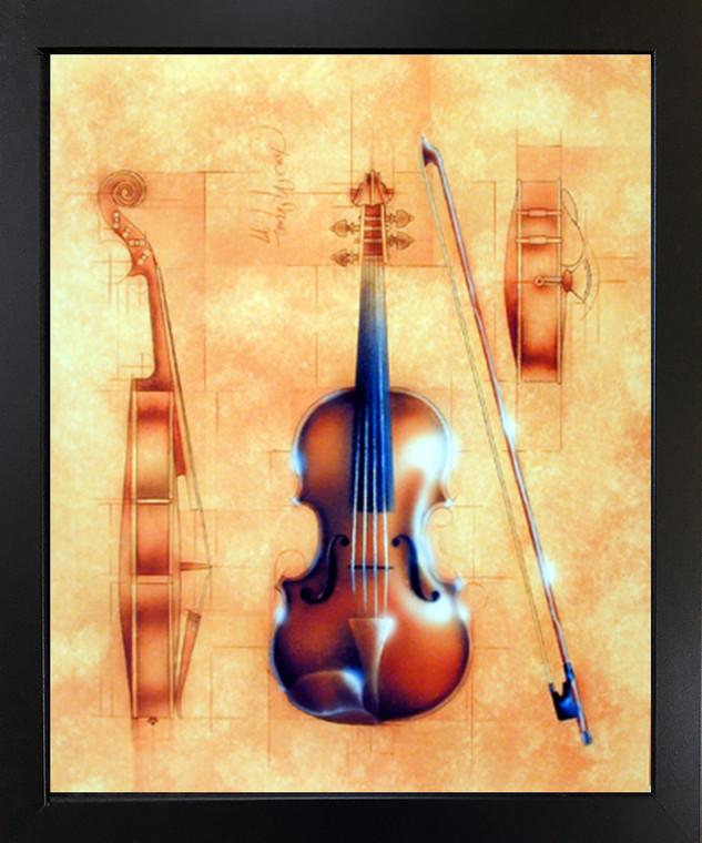 Framed Wall Decor Fine Arts Instrument (Violin) Black Framed Wall Decor Picture Art Print (18x22)
