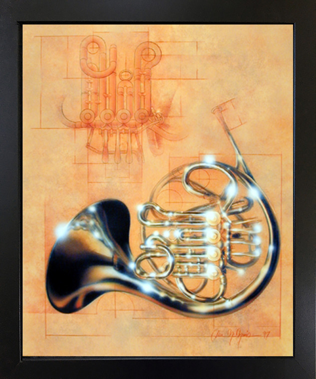 Framed Wall Decoration French Horn Musical Instrument Dan McManis Black Framed Wall Decor Picture Art Print (18x22)