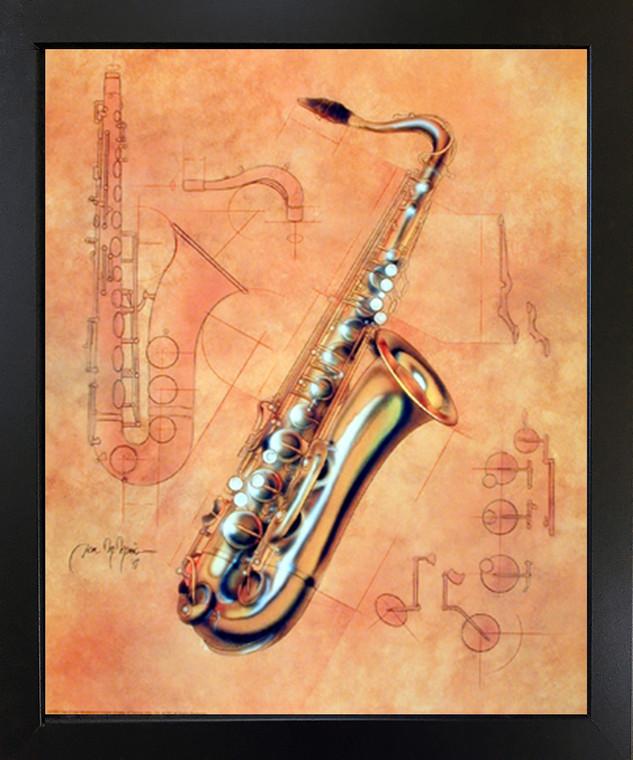 Framed Wall Decor Fine Arts Music Instrument Saxophone Kids Room Black Framed Wall Decor Picture Art Print (18x22)