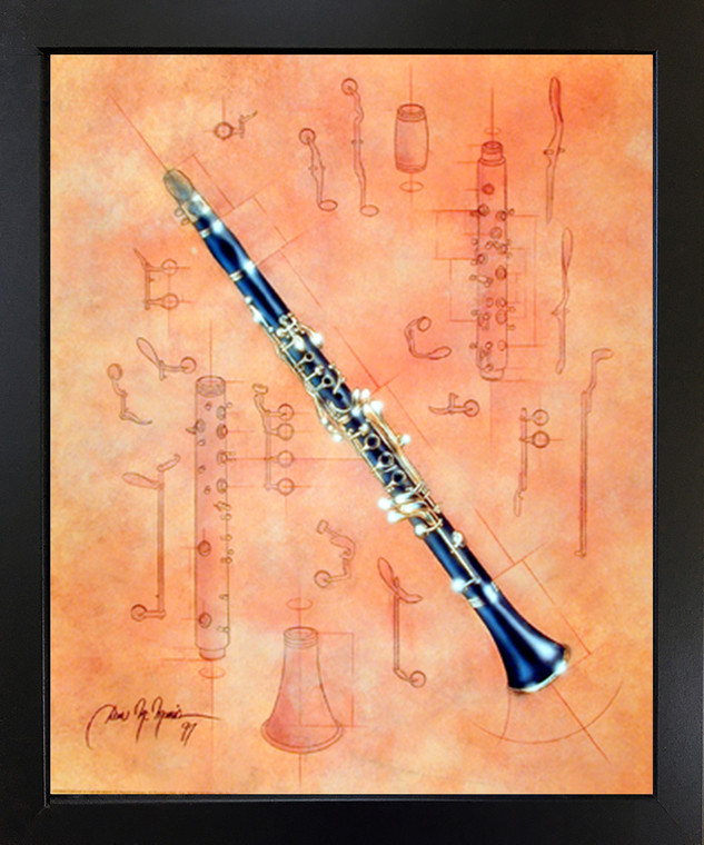 Impact Posters Gallery Fine Arts Musical Instrument Clarinet Dan McManis Picture Black Art Print Framed Wall Decoration (18x22)