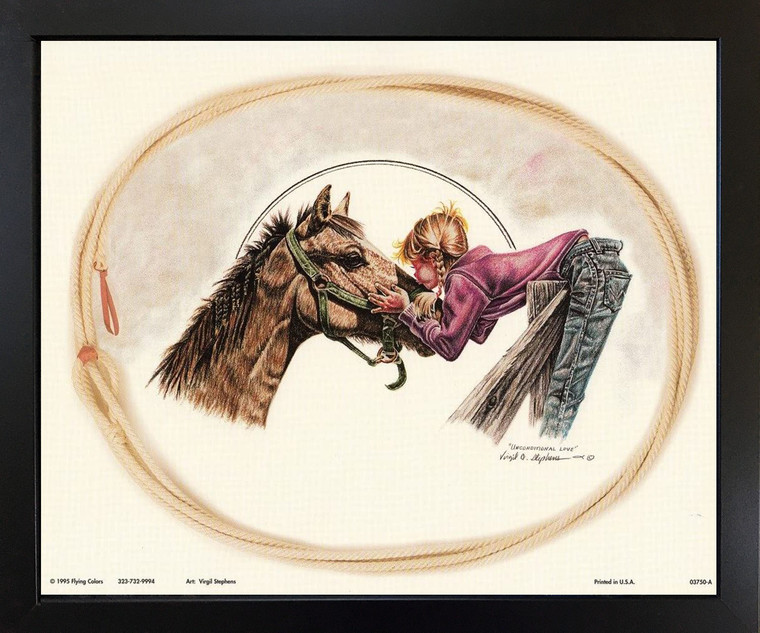 Western Cowgirl Unconditional Love by Virgil Stephens Black Framed Wall Decor Art Print Picture (18x22)