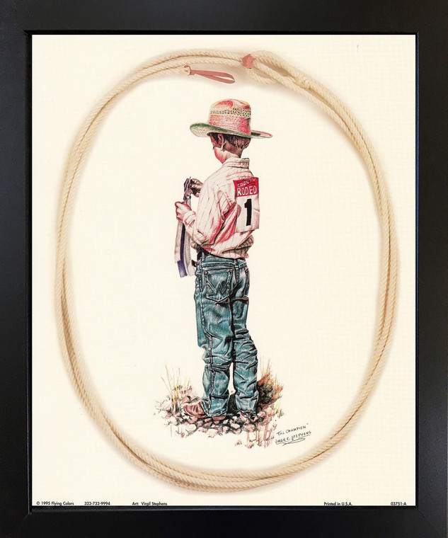 The Champion Western Rodeo Cowboy Black Framed Wall Decor Art Print Picture (18x22)