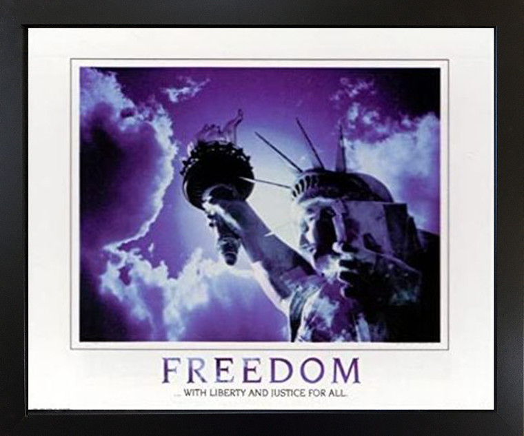 Freedom with Liberty and Justice for All Inspirational Black Framed Wall Decor Art Print Picture (18x22)