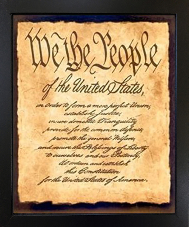 Constitution of The United States We The People of The United States Black Framed Wall Decor Art Print Picture (18x22)