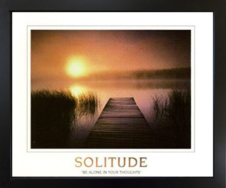 The Solitude of The Sea Sunset Inspirational Nature Wall Decor Black Framed Art Print Picture (18x22)