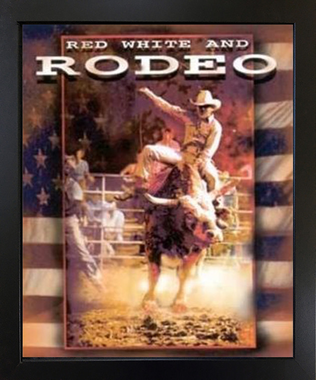 Vintage Western Rodeo Cowboy Horse Riding Black Framed Wall Decor Art Print Picture (18x22)