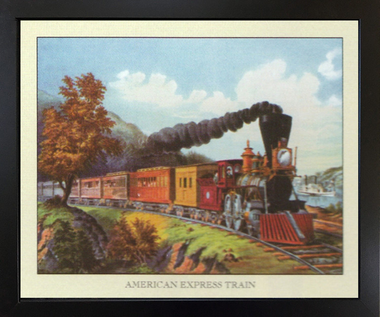 Vintage American Express Train Black Framed Wall Decor Art Print Picture (18x22)