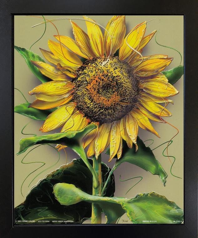 Sunflower Flower Floral Black Framed Wall Decor Art Print Picture (18x22)