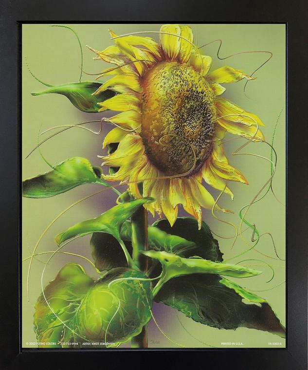 Sunflower Flower Floral Art Print Black Framed Wall Decor Picture (18x22)