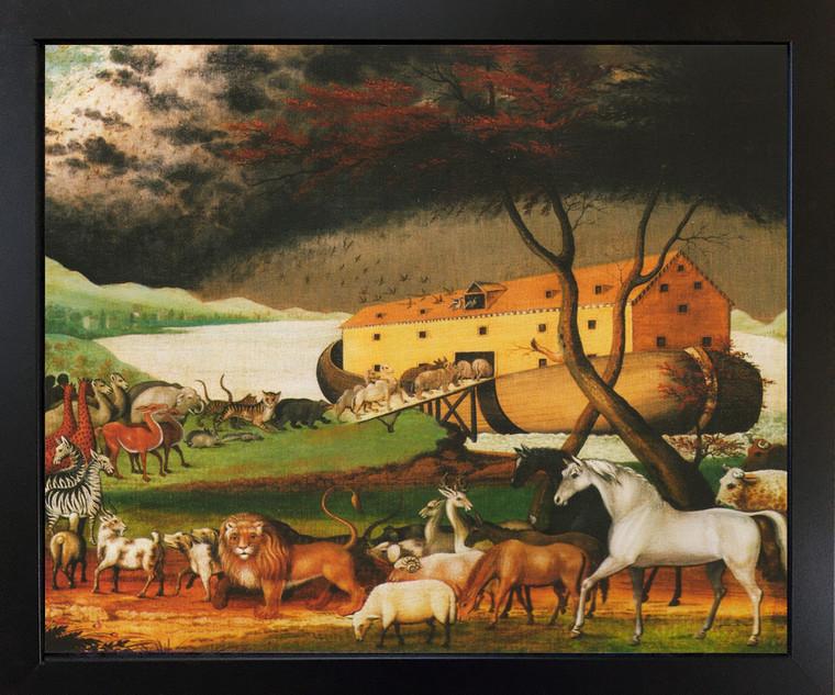 Noah's Ark by Edward Hicks Religious Kids Room Black Framed Wall Decor Art Print Picture (18x22)