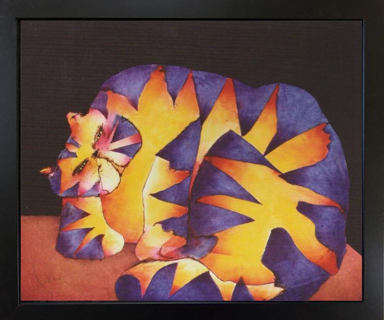Orange Fat Cat Kids Room Fine Wall Decor Black Framed Wall Decor Art Print Picture (18x22)
