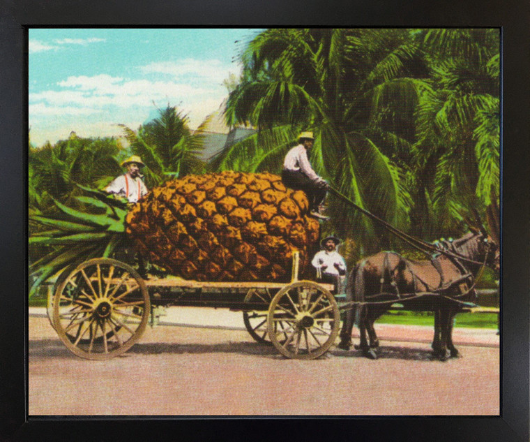 Pineapple Fruit Cart and Trees Black Framed Wall Decor Art Print Picture (18x22)