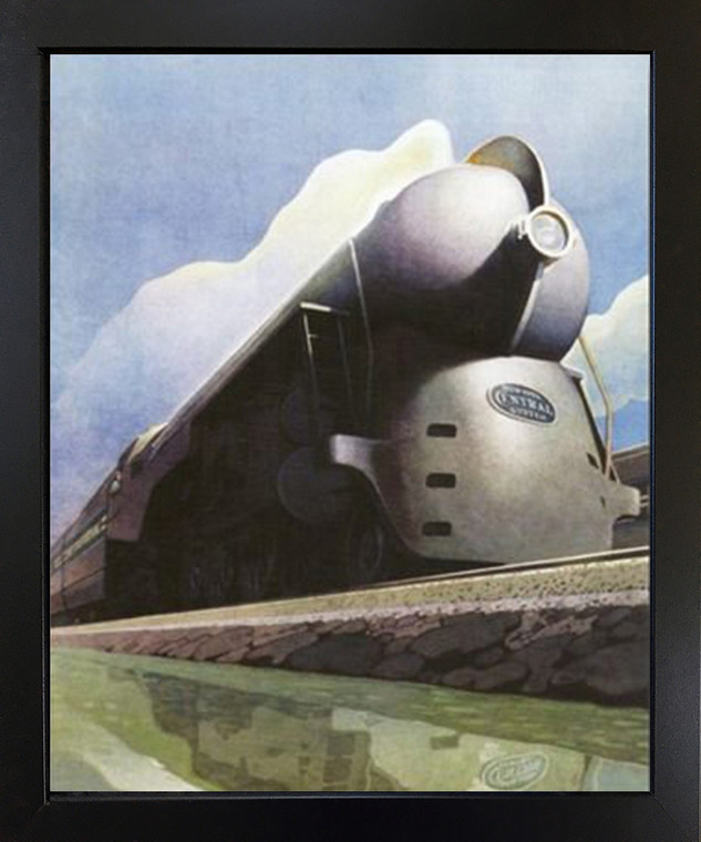 Impact Posters Gallery Vintage New York Central Locomotive Train Black Framed Wall Decoration Art Print Picture (18x22)