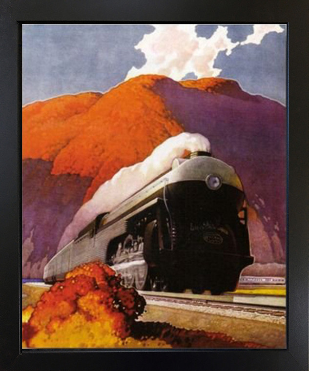 Vintage Mountain Express Train Black Framed Wall Decor Art Print Picture (18x22)