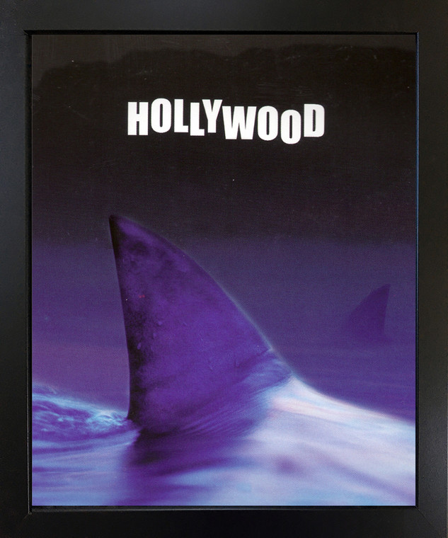 Whale Tail with Hollywood Sign Ocean Black Framed Wall Decor Art Print Picture (18x22)