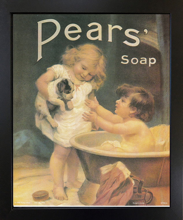 Pears Soap Ad Wall Decor Vintage Advertisement Picture Bathroom Black Framed Art Print Poster (18x22)