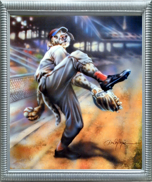 Framed Wall Decor Picture Dog Playing Old Time Baseball Motivational Sports Fine Silver Art Print (20x24)