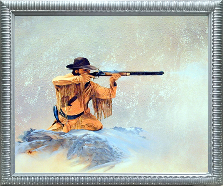 Impact Posters Gallery Jan Nell Long Hunter Rifle Mountain Man Silver Picture Framed Wall Decoration Art Print (20x24)