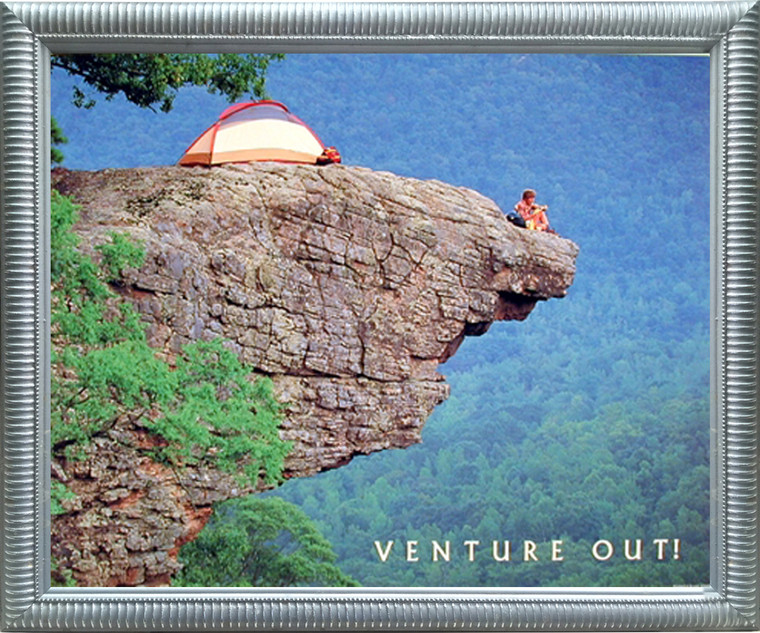Cliff Climbing Picture Art Print Framed Wall Decoration Venture Out! Motivational Silver Poster (18x22)