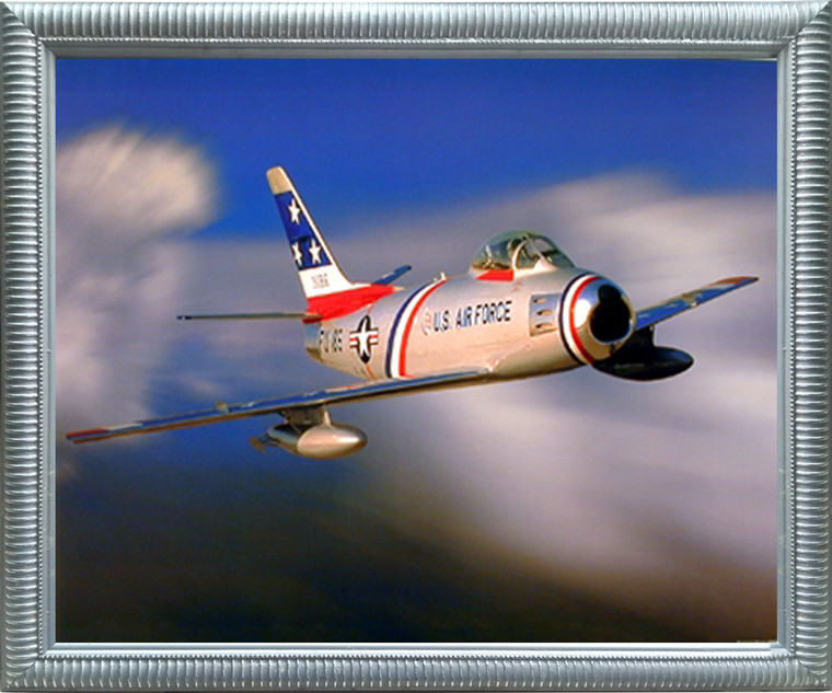 Aviation Framed Poster - F-86 Sabre Jet Military Aircraft Wall Decor Silver Picture Art Print (20x24)