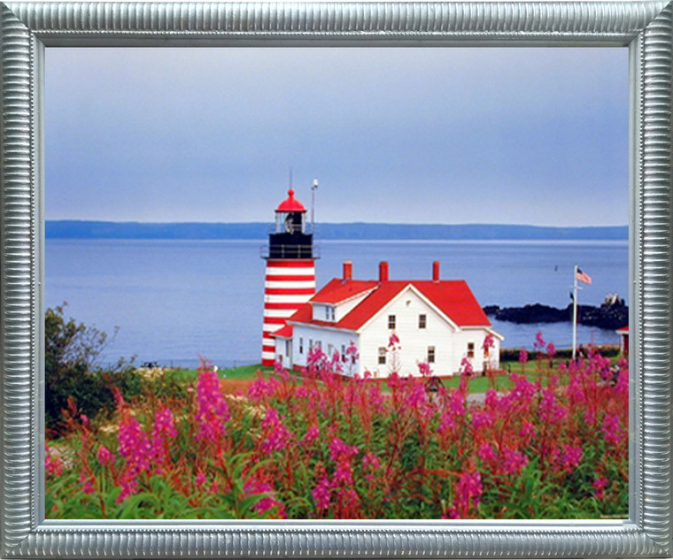 Framed Wall Decoration West Quoddy Head Lighthouse Seascape Silver Picture Art Print (20x24)