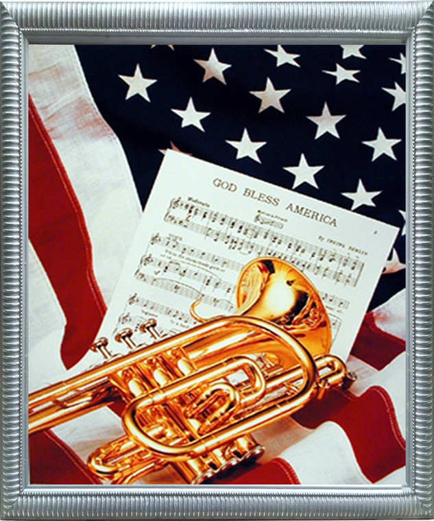 American Trumpet Instrument & Music Sheet American Flag Patriotic Wall Decor Silver Framed Picture Art Print (18x22)