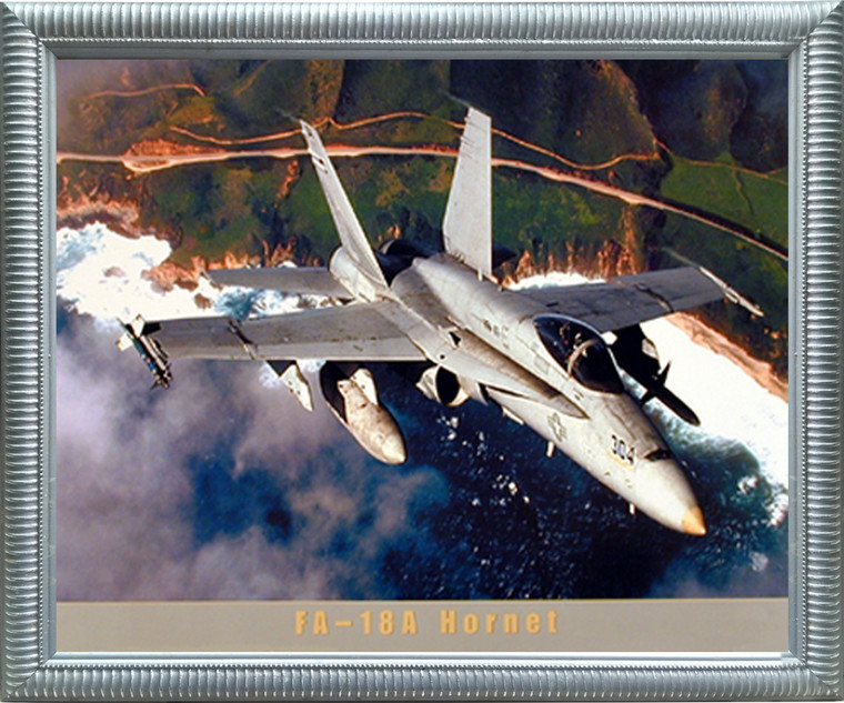 Impact Posters Gallery Aviation Poster - FA-18A Hornet Jet Military Aircraft Silver Picture Art Print Framed Wall Decor (20x24)