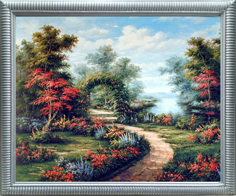Impact Posters Gallery Garden Path Under Flower Arch Scenic Landscape Silver Art Print Framed Wall Decoration Picture (20x24)