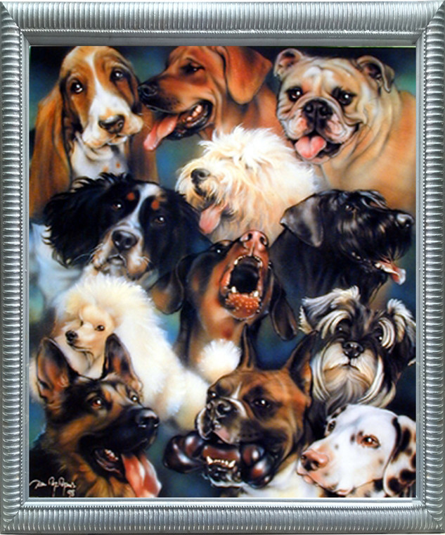 Impact Posters Gallery Collage of Dogs Breeds Cute Animal Kids Room Silver Art Print Framed Wall Decor Picture (20x24)