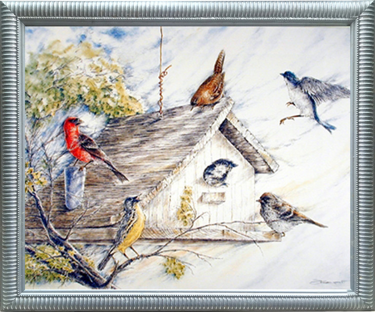 Impact Posters Gallery Birds at Birdhouse Wild Animal Nature Silver Framed Wall Decor Picture Art Print (18x22)