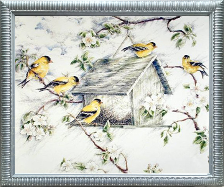 Impact Posters Gallery Gold Finches Feeder in Snow Wild Birds Picture Silver Framed Art Print Framed Wall Decoration (20x24)