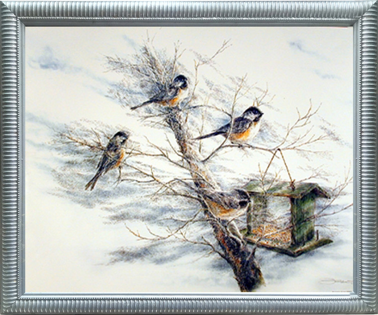 Birds House on Tree Framed Art Print Chickadee Animal Silver Wall Decoration Picture (18x22)