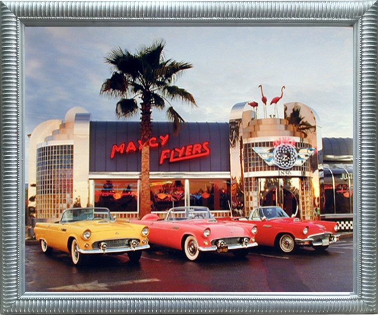 Vintage Ford Framed Art Print 1955 1956 1957 Thunderbirds Car Silver Wall Decor Picture (18x22)