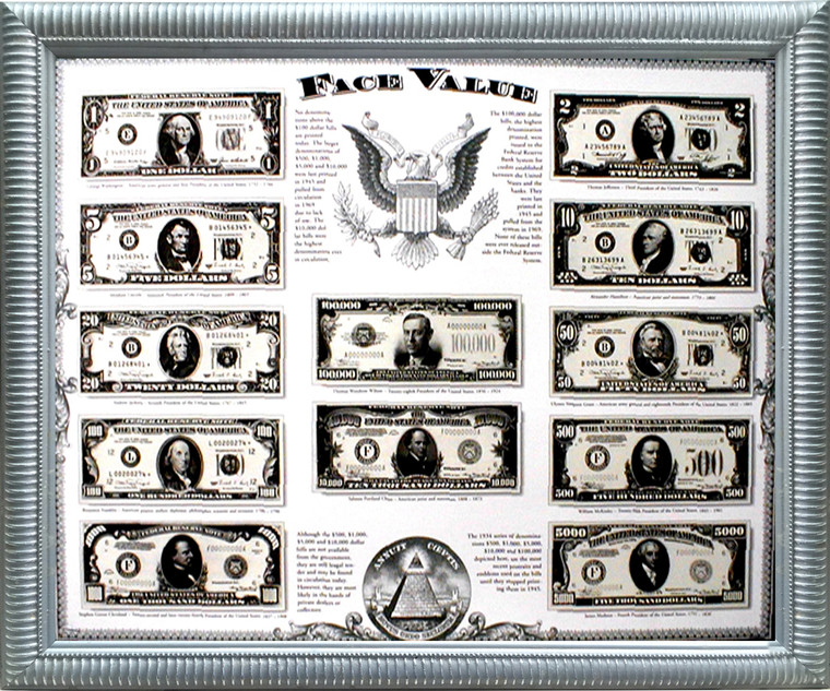 Impact Posters Gallery US Money Framed Picture Wall Decor Old Currency Dollar Bills Silver Art Print (18x22)