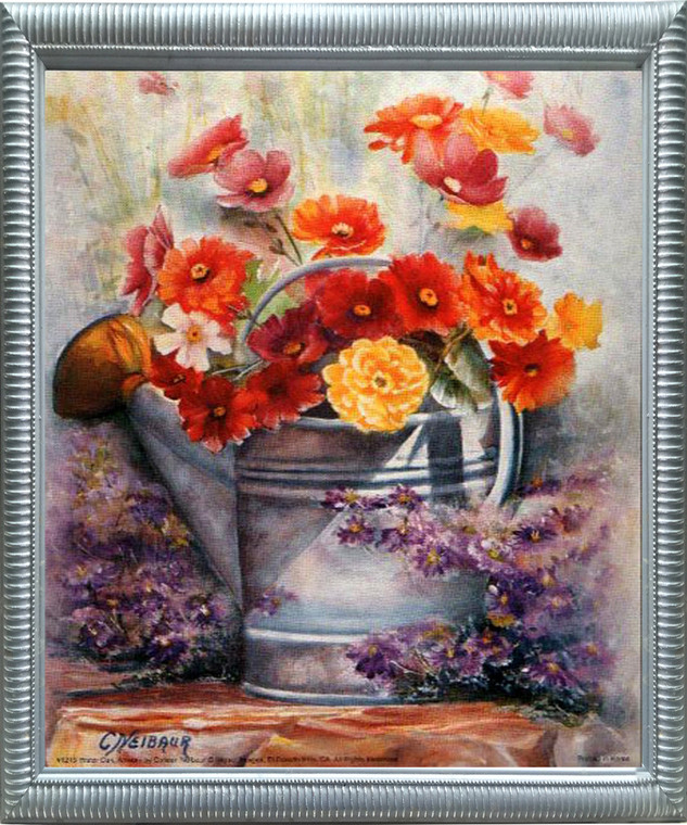 Impact Posters Gallery Water Can Framed Art Print Flowers Still Life Silver Wall Decoration Picture
