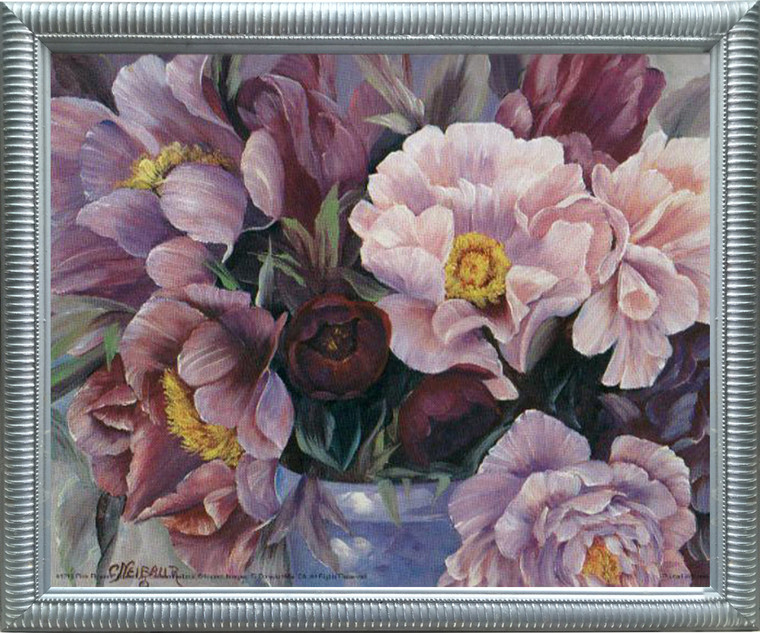 Impact Posters Gallery Pink Flowers in Vase Floral Wall Decor Silver Framed Picture Art Print