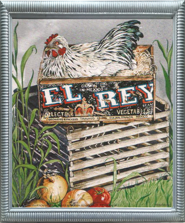 Impact Posters Gallery Condo EI Rey Framed Art Print Chicken Rooster Kitchen Hen Animal Silver Wall Decoration Picture