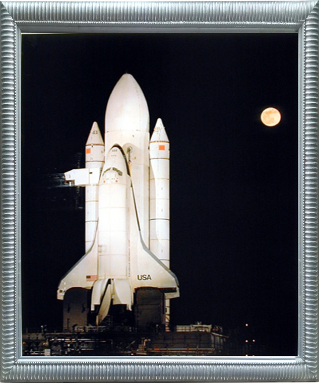 Astronaut Framed NASA Space Shuttle Night Moon Rocket Wall Bedroom Decor Educational Silver Art Print Picture (18x22)