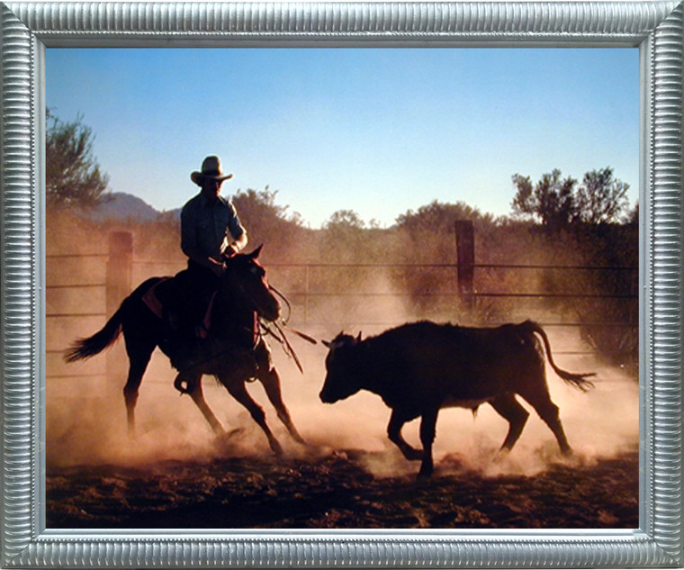 Impact Posters Gallery Western Cowboy on Cutting Framed Wall Decoration Wild Horse Animal Silver Art Print Picture (20x24)