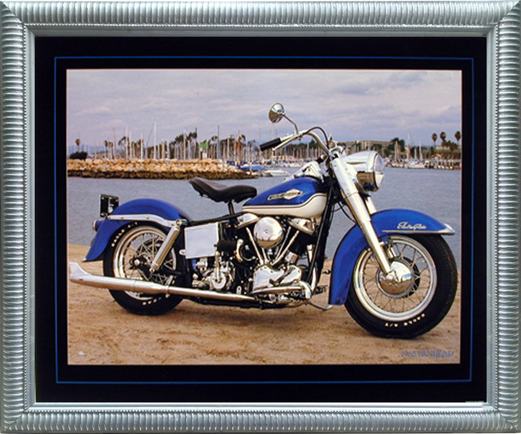 Impact Posters Gallery 1965 Blue Panhead Harley Davidson Vintage Motorcycle Wall Decor Silver Framed Art Print Picture