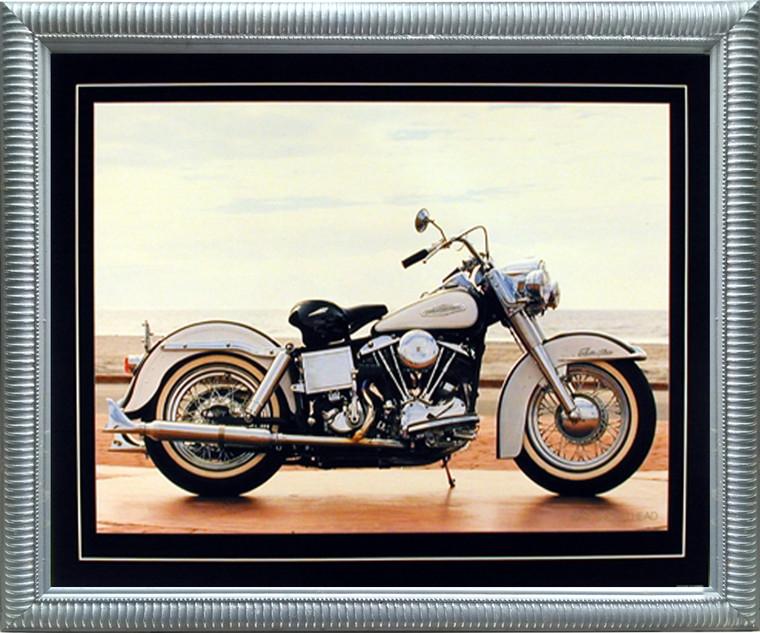 Impact Posters Gallery 1967 White Shovelhead Harley Davidson Vintage Motorcycle Bike Wall Decor Silver Framed Picture Art Print