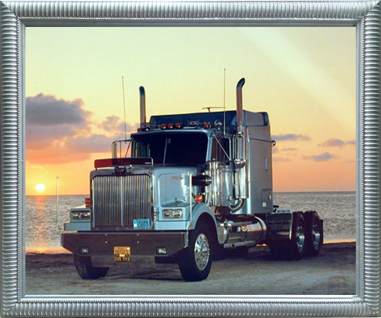 Impact Posters Gallery Light Blue Big Rig Truck Transportation Western Star Home Silver Art Print Framed Wall Decoration Picture (20x24)