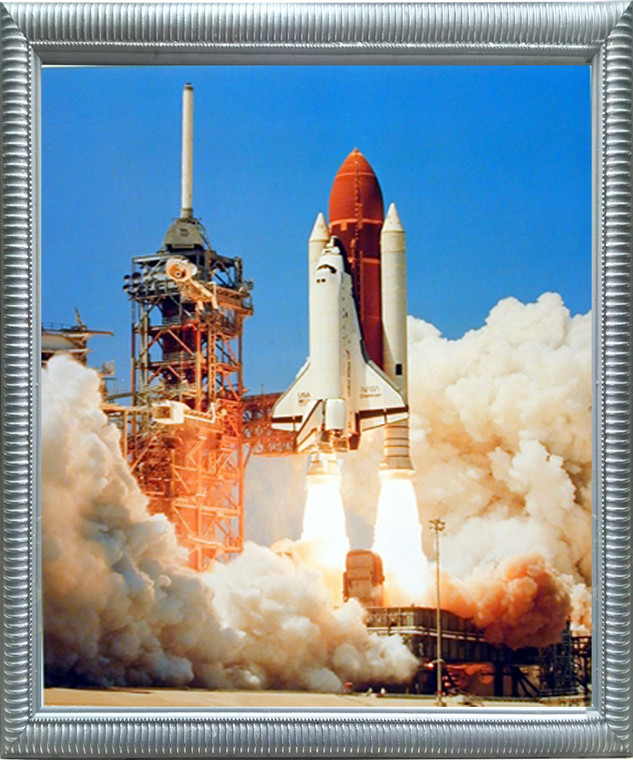 Framed Wall Decoration Nasa Space Shuttle Blastoff Challenger Silver Art Print Picture (18x22)