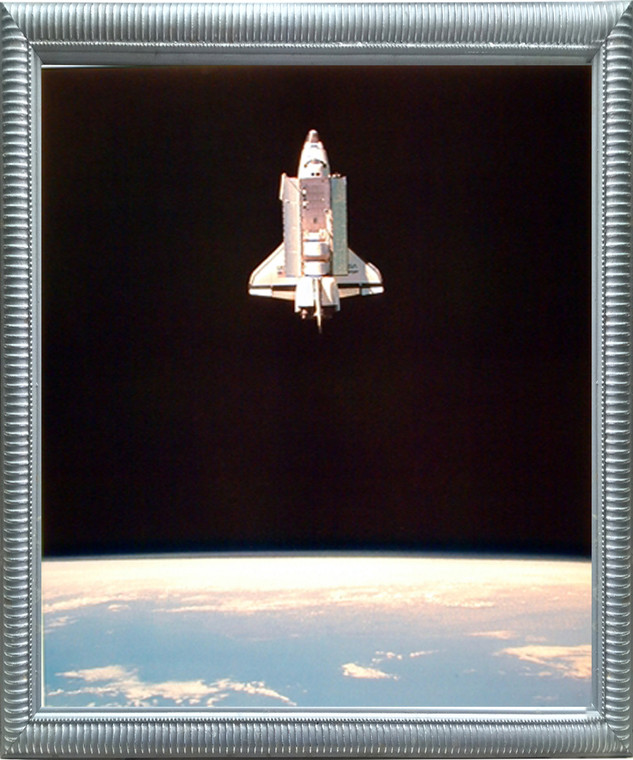 Impact Posters Gallery Space Shuttle in Space NASA Educational Silver Art Print Framed Wall Decor Picture (20x24)