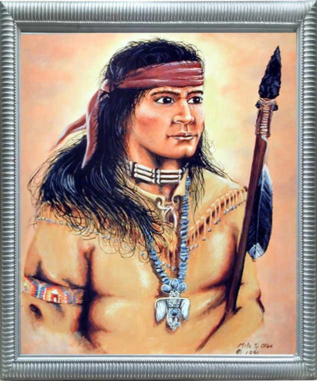 Framed Wall Decoration Native American Framed Poster - Indian Warrior Milo Olive Silver Picture Art Print (20x24)