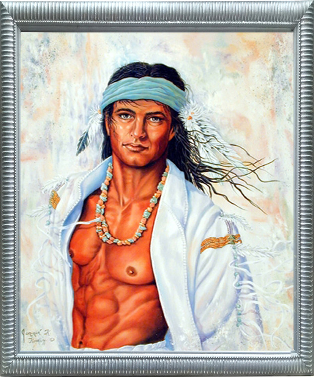 Native American Framed Poster - Indian Brave Warrior Wall Decor Silver Picture Art Print (20x24)